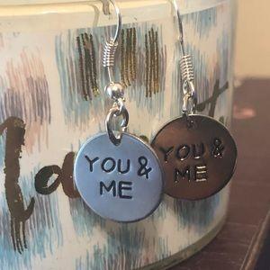 ❌You & Me ❤️ Silver Earrings ! 2 Cute!!